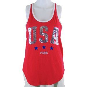 Red Racer Back Tank with USA Glitter